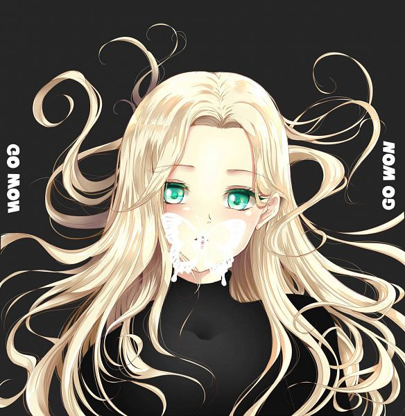 Tags: K-Pop, LOOΠΔ, Go Won, Blonde Hair, Butterfly, Animal, Black Background, Embarrassed, Green Eyes, Black Shirt, Wind, Text: Artist Name
