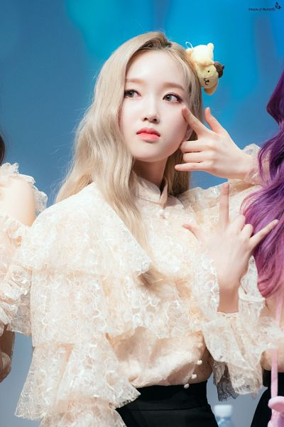 Tags: K-Pop, LOOΠΔ, Go Won, Buttons, Blue Eyes, Looking Away, Lace, Stuffed Toy, Black Pants, Stuffed Animal, Blonde Hair, Fansigning Event