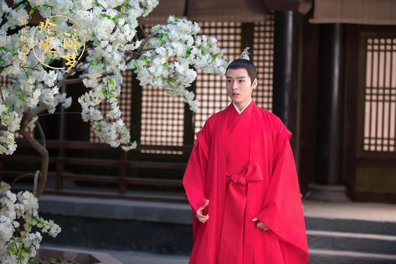Tags: C-Drama, Gong Jun, Sad, Traditional Clothes, White Flower, Tree, Plant, Red Dress, Chinese Clothes, Chinese Text, Dress, Red Outfit