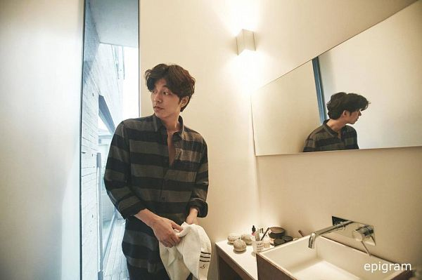 Tags: K-Drama, Gong Yoo, Glass, Striped Shirt, Sink, Light Background, White Background, Striped, Looking Away, Reflection, Mirror