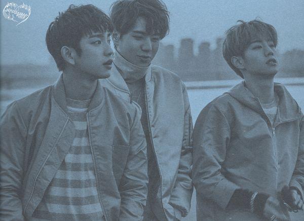 Tags: K-Pop, Got7, Kim Yugyeom, Park Jinyoung (Junior), Mark, Hand In Pocket, Monochrome, Three Males, Striped Shirt, Trio, Striped, Wallpaper