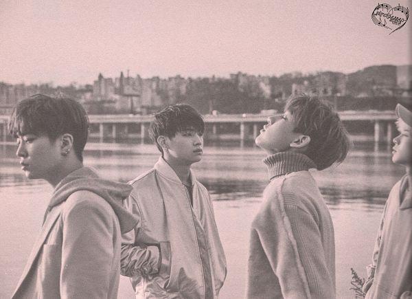 Tags: K-Pop, Got7, BamBam, JB, Choi Youngjae, Jackson, Quartet, Four Males, Serious, Monochrome, Hat, Looking Up