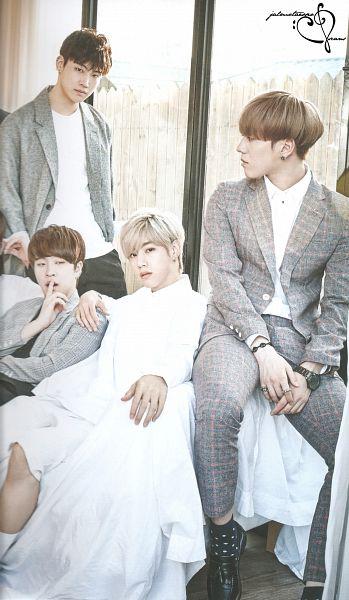 Tags: K-Drama, K-Pop, Got7, Kim Yugyeom, JB, Choi Youngjae, Mark, Gray Pants, Quartet, Blonde Hair, Four Males, White Pants