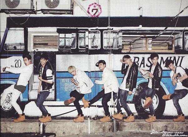 Tags: K-Pop, Got7, Park Jinyoung (Junior), Choi Youngjae, Kim Yugyeom, Mark, BamBam, Jackson, JB, Hat, Full Group, Blonde Hair
