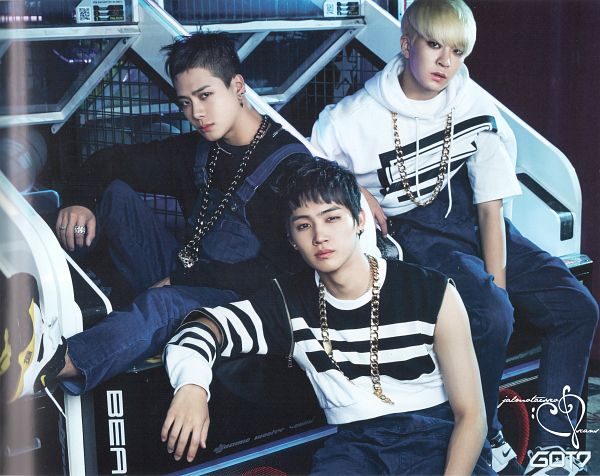 Tags: JYP Entertainment, K-Pop, Got7, JB, Choi Youngjae, Jackson, Necklace, Three Males, Blue Pants, Trio, Overalls, Scan