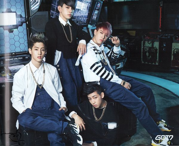 Tags: JYP Entertainment, K-Pop, Got7, Park Jinyoung (Junior), Mark, Kim Yugyeom, BamBam, Quartet, Four Males, Blue Pants, Overalls, Serious