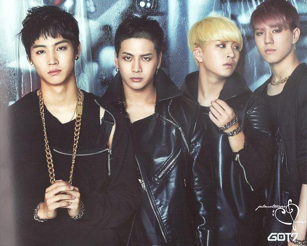 Tags: JYP Entertainment, K-Pop, Got7, Jackson, Kim Yugyeom, JB, Choi Youngjae, Quartet, Four Males, Black Pants, Serious, Scan