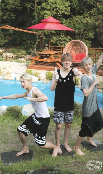 Tags: K-Pop, Got7, Jackson, Kim Yugyeom, Mark, Sleeveless, Swimming Pool, Trio, Gray Shirt, Shorts, Bare Shoulders, Full Body