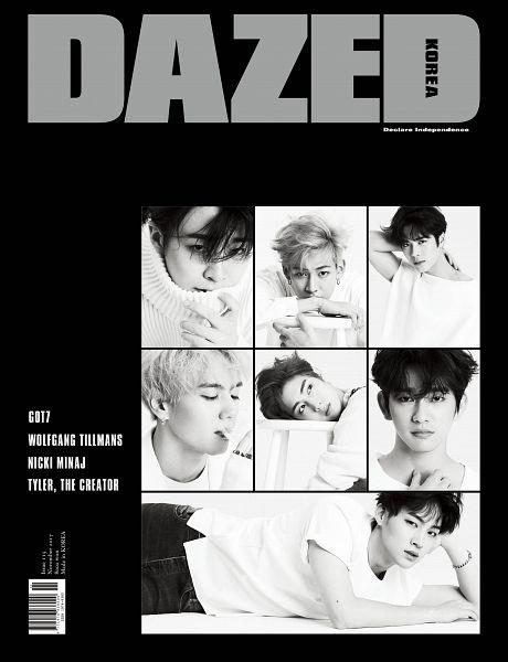 Tags: K-Pop, Got7, Kim Yugyeom, Mark, BamBam, Jackson, JB, Park Jinyoung (Junior), Choi Youngjae, English Text, Monochrome, Arm Support