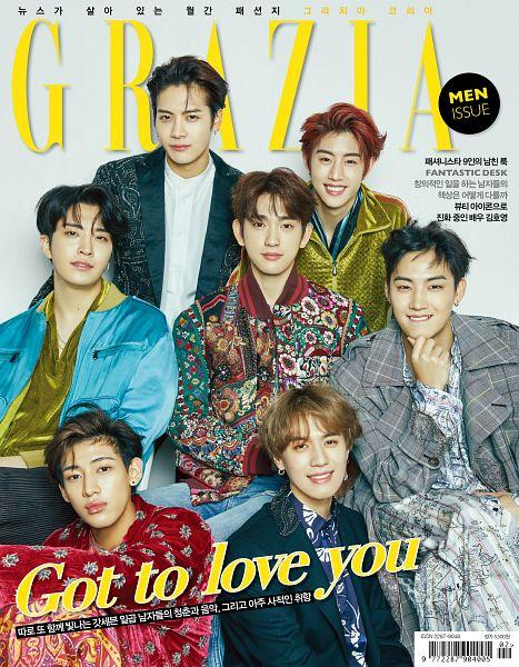 Tags: JYP Entertainment, K-Pop, Got7, Choi Youngjae, Kim Yugyeom, Mark, BamBam, Jackson, JB, Park Jinyoung (Junior), Korean Text, Blue Jacket
