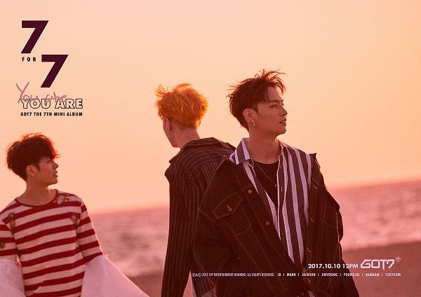 Tags: K-Pop, Got7, Jackson, Kim Yugyeom, JB, Beach, Text: Artist Name, English Text, Sand, Sunset, Text: Album Name, Text: Song Title