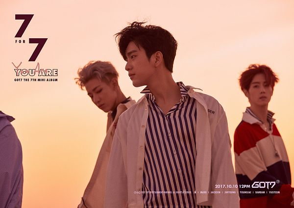 Tags: K-Pop, Got7, Mark, BamBam, Park Jinyoung (Junior), Text: Album Name, English Text, Striped, Sunset, Text: Song Title, Three Males, Text: Calendar Date
