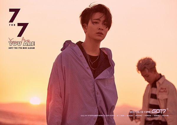 Tags: K-Pop, Got7, BamBam, Choi Youngjae, Sunset, English Text, Striped, Duo, Text: Calendar Date, Text: Song Title, Blue Shirt, Text: Artist Name