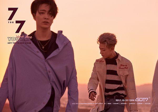 Tags: K-Pop, Got7, Choi Youngjae, BamBam, Striped Shirt, Necklace, Duo, Text: Artist Name, Walking, Blue Shirt, Text: Album Name, English Text