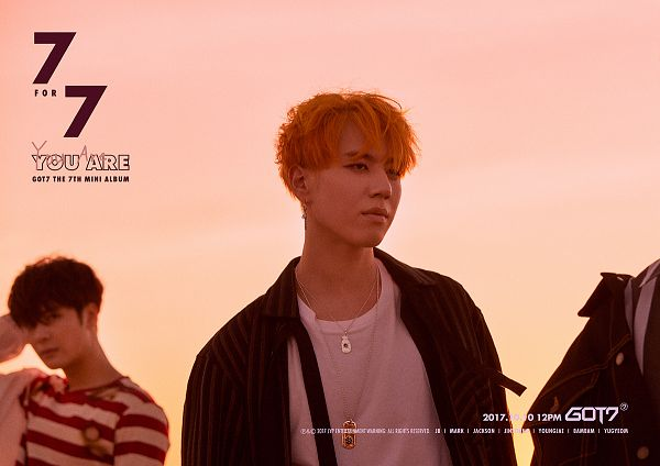 Tags: K-Pop, Got7, Jackson, Kim Yugyeom, Text: Calendar Date, Striped Shirt, Text: Artist Name, English Text, Text: Album Name, Two Males, Text: Song Title, Striped