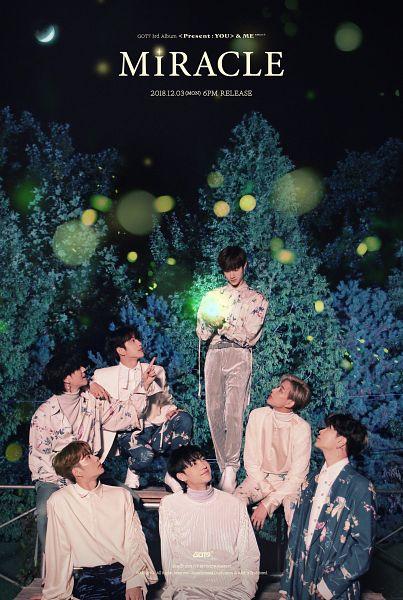 Tags: K-Pop, Got7, Mark, BamBam, Jackson, JB, Park Jinyoung (Junior), Kim Yugyeom, Choi Youngjae, Crouching, Floral Shirt, English Text
