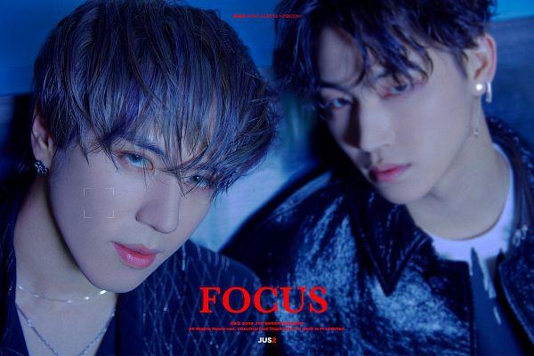 Tags: K-Pop, Got7, JB, Kim Yugyeom, Black Outerwear, Necklace, Blue Eyes, Earrings, Black Jacket, Text: Album Name, Two Males, English Text