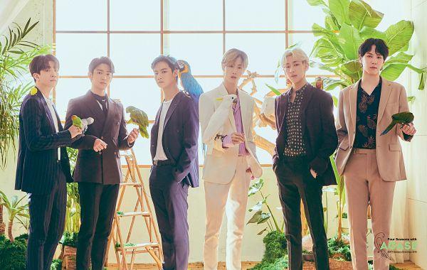 Tags: K-Pop, Got7, BamBam, JB, Park Jinyoung (Junior), Choi Youngjae, Kim Yugyeom, Mark, Serious, Ladder, Purple Outerwear, Brown Pants