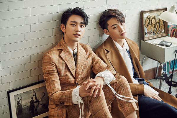 Tags: K-Pop, Got7, Park Jinyoung (Junior), JB, Black Pants, Wall, Leaning On Wall, Plaided Print, Lamp, Table, Brown Pants, Brown Outerwear