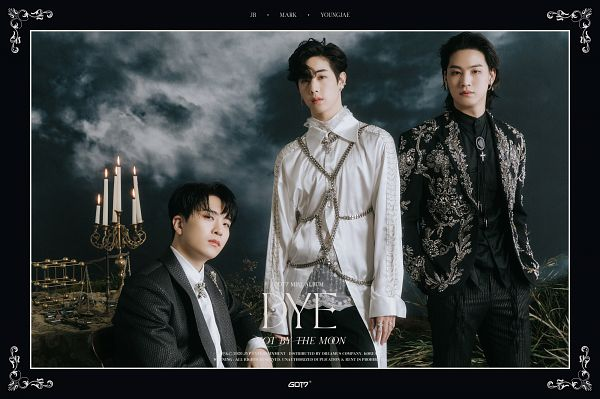 Tags: K-Pop, Got7, Mark, JB, Choi Youngjae, Frame, Text: Song Title, Serious, Text: Artist Name, Trio, Three Males, Fire