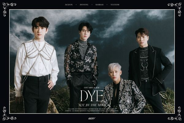 Tags: K-Pop, Got7, Park Jinyoung (Junior), Jackson, Kim Yugyeom, BamBam, Text: Album Name, White Hair, Black Jacket, Serious, Hand In Pocket, Clouds