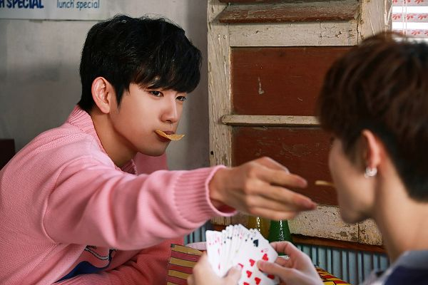 Tags: K-Pop, Got7, Mark, Park Jinyoung (Junior), Pink Shirt, Fries, Vegetables, Two Males, Card, Duo