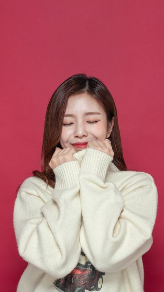 Tags: K-Pop, Berry Good, Gowoon, Sweater, Eyes Closed, Red Background, Android/iPhone Wallpaper