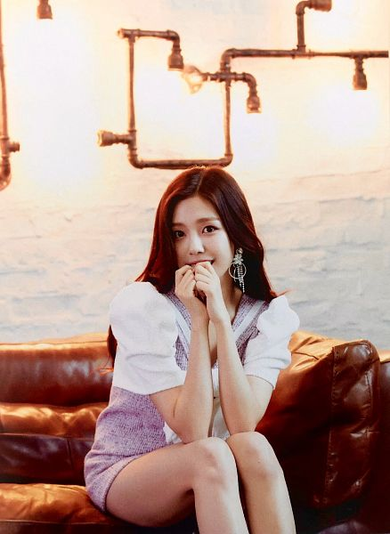 Tags: K-Pop, Berry Good, Gowoon, Purple Dress, Short Sleeves, Purple Outfit, Sitting On Couch, Couch, Scan, Fantastic