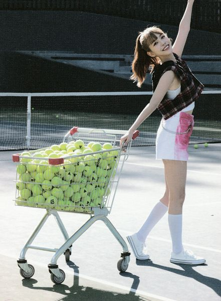 Tags: K-Pop, Berry Good, Gowoon, White Outfit, White Footwear, Hair Up, Tennis Ball, Ponytail, Ball, Net, Grin, Shopping Cart