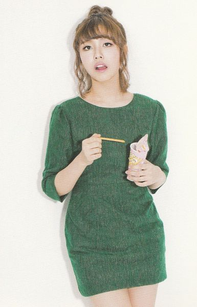 Tags: K-Pop, Berry Good, Because Of You, Gowoon, Single Bun, Hair Up, Light Background, Ice Cream, White Background, Tongue, Green Dress, Green Outfit