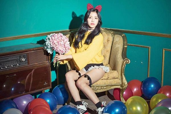 Tags: K-Pop, Berry Good, Gowoon, Yellow Shirt, Frills, Chair, Choker, Legband, Hair Ornament, Flower, Red Bow, Bloomers