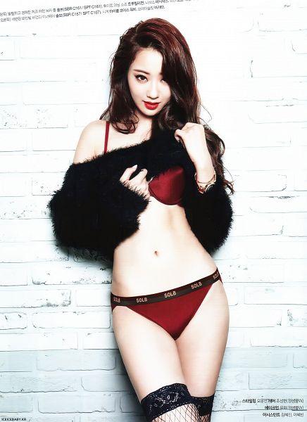 Tags: K-Pop, Nine Muses, Gyeongree, Lingerie, Midriff, Bra, Navel, Fishnets, Suggestive, Black Legwear, Panties, Red Lips