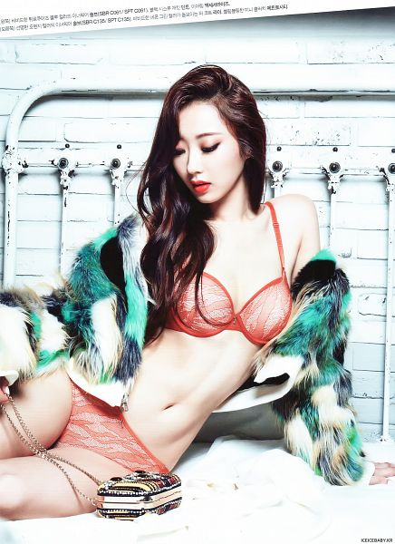 Tags: K-Pop, Nine Muses, Gyeongree, Lingerie, Eyes Half Closed, Bra, Bag, Green Outerwear, Cleavage, Suggestive, Looking Down, Midriff
