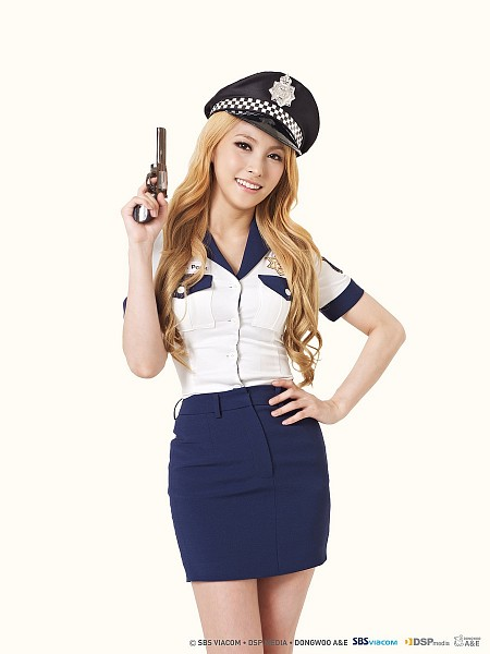 Tags: K-Pop, KARA, Gyuri Park, Skirt, Simple Background, Peaked Cap, Blonde Hair, No Background, Hand On Hip, Gun, Uniform
