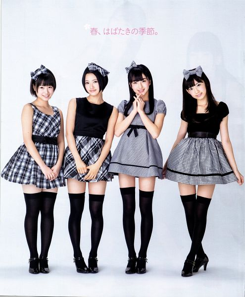 Tags: J-Pop, HKT48, Thigh Highs, Zettai Ryouiki, Skirt, Crossed Legs (Standing), Hair Bow, Lifting Skirt, Bow, Person Request