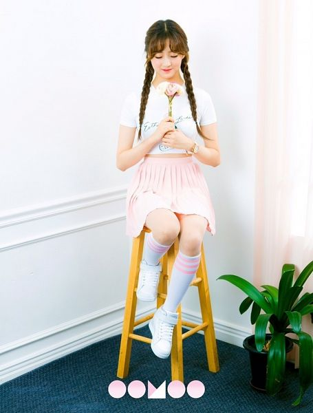 Tags: K-Pop, I.B.I, Han Hyeri, Skirt, Pink Skirt, Twin Braids, Chair, Pink Flower, Blunt Bangs, Flower, Stool, Plant