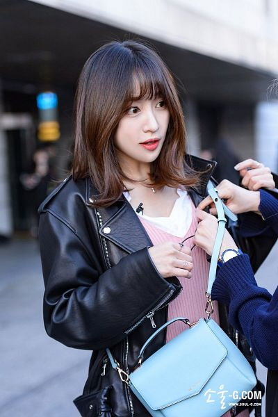 Tags: K-Pop, EXID, Hani, Looking At Another, Road, Black Outerwear, Necklace, Bag, Black Jacket, Leather Jacket, Pink Outfit, Blunt Bangs