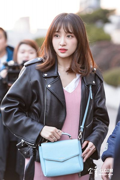 Tags: K-Pop, EXID, Hani, Blunt Bangs, Road, Black Outerwear, Necklace, Bag, Leather Jacket, Pink Outfit, Black Jacket, Pink Dress