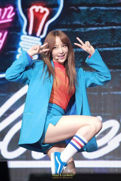 Tags: K-Pop, EXID, Hani, Shoes, Blue Shorts, Blue Outerwear, Bare Legs, Socks, White Legwear, Leg Up, Shorts, Blue Jacket