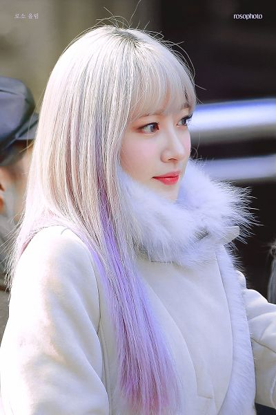Tags: K-Pop, EXID, Hani, White Outerwear, White Outfit, Gray Hair, Purple Hair, Multi-colored Hair, Side View