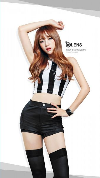 Tags: K-Pop, EXID, Hani, White Background, Black Shorts, Thigh Highs, Striped Shirt, Multi-colored Shirt, Sleeveless, Arms Up, Red Hair, Midriff