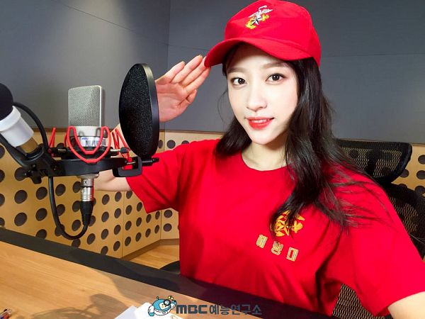 Tags: K-Pop, EXID, Hani, Red Headwear, Sitting On Chair, Red Shirt, Chair