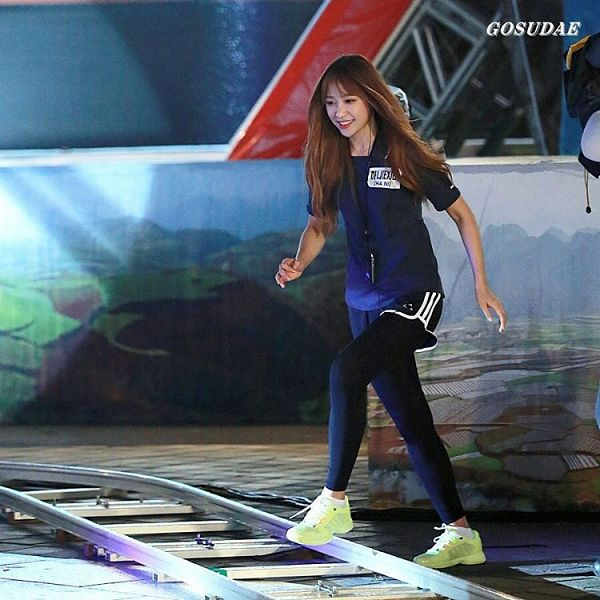 Tags: K-Pop, EXID, Hani, Yellow Footwear, Shoes, Black Shorts, Shorts, Looking Ahead, Blue Shirt, Looking Down, Black Legwear, Sneakers