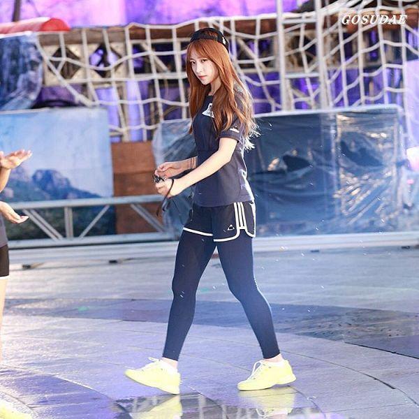 Tags: K-Pop, EXID, Hani, Black Legwear, Sneakers, Yellow Footwear, Shoes, Black Shorts, Shorts, Looking Ahead, Blue Shirt, Looking Down