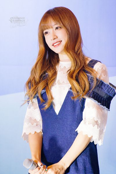 Tags: K-Pop, EXID, Hani, Blue Background, Denim Dress, Looking Away, Wavy Hair, Android/iPhone Wallpaper, Sleep Page