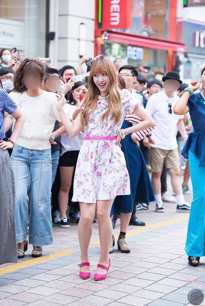 Tags: K-Pop, EXID, Hani, Wave, Floral Dress, Necklace, Pink Footwear, White Outfit, Outdoors, High Heels, Bare Legs, White Dress