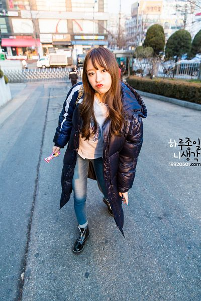 Tags: K-Pop, EXID, Hani, Jeans, Boots, Pouting, From Above, Black Jacket, Black Footwear, Shoes, Outdoors, Android/iPhone Wallpaper