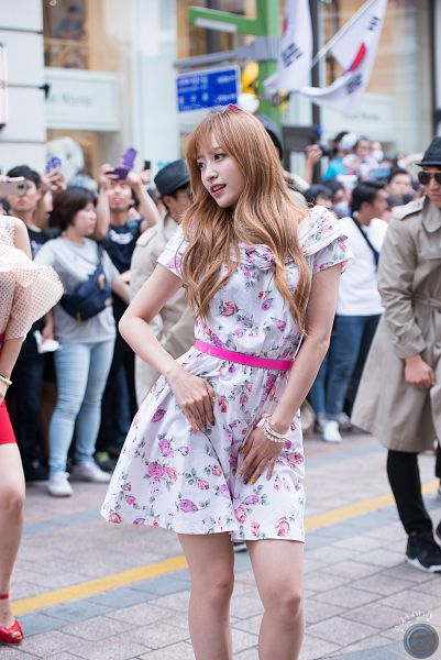 Tags: K-Pop, EXID, Hani, Looking Away, Belt, Floral Print, Bracelet, Floral Dress, White Outfit, Bare Legs, White Dress, Outdoors