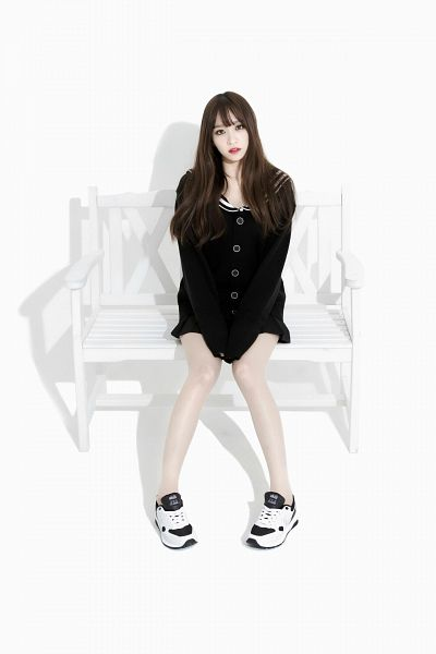 Tags: K-Pop, EXID, Hani, Sailor Collar, Light Background, Bare Legs, Sitting On Bench, White Background, From Above, Black Outerwear, Shoes, Looking Up