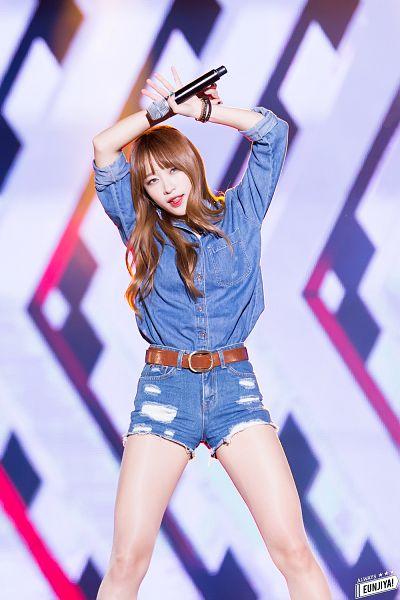 Tags: K-Pop, EXID, Hani, Jeans, Bare Legs, Bracelet, Looking Ahead, Tongue, Shorts, Denim Shirt, Arms Up, Belt